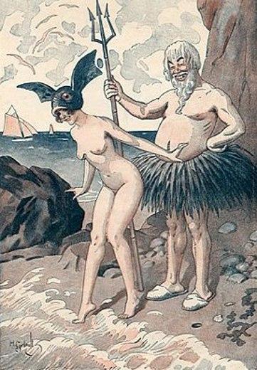 Le bain d'Atlantide, fille de Neptune