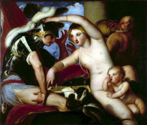 Mars And Venus Playing Chess