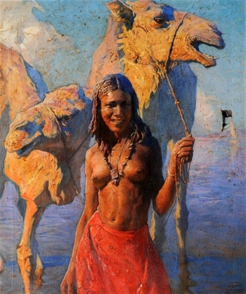 Native Maiden And Camel At Water's Edge