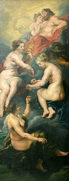 The Fates Spinning The Fate Of Queen Marie de Medici, Under The Protection Of Juno And Jupiter