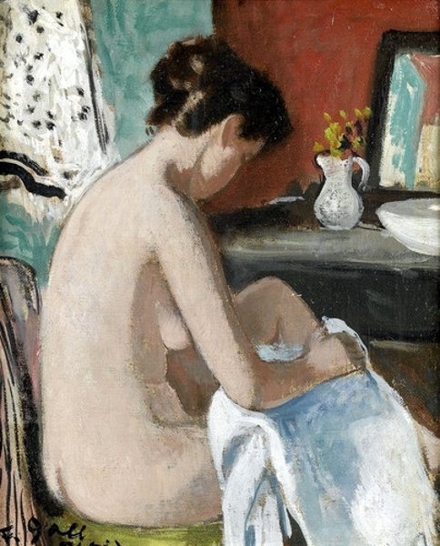 Young Girl At The Toilet