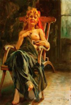 A Seated Partially Nude Woman