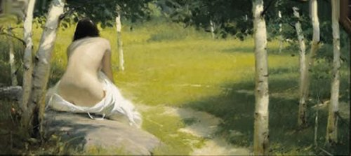 Figure In The Aspens - Birch Trees