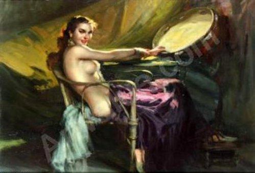 Gitane assise au tambourin