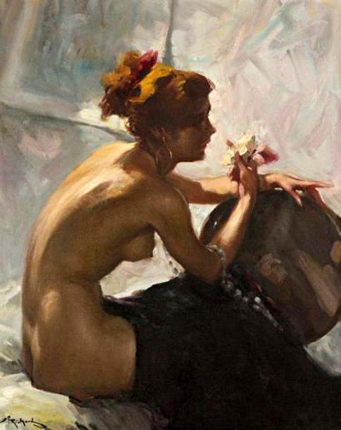 Jeune femme au bouquet de fleurs - Nu au collier de perles
