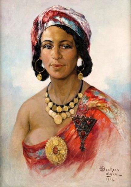 La robe rouge - Femme Kabyle, Alger