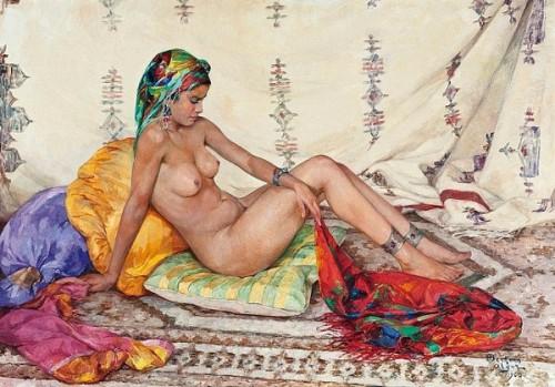 Nu au foulard chamarré - Nude Woman With Coloured Scarf