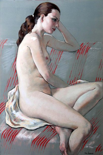 Nude On A Striped Divan