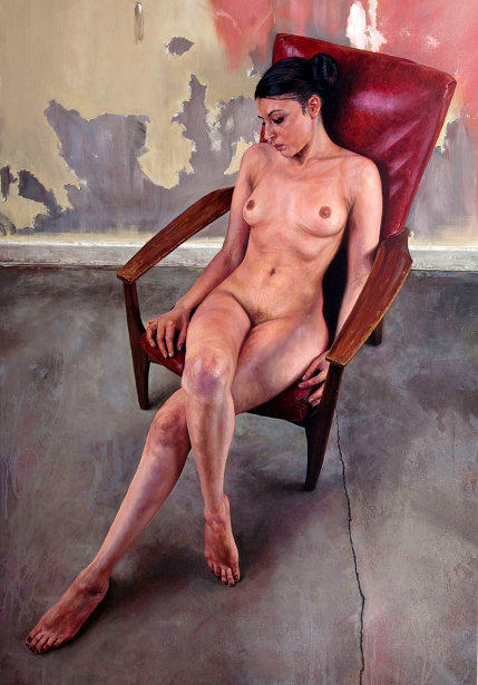 Nude On Red Chair
