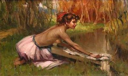 Nude Washing Clothes In Stream