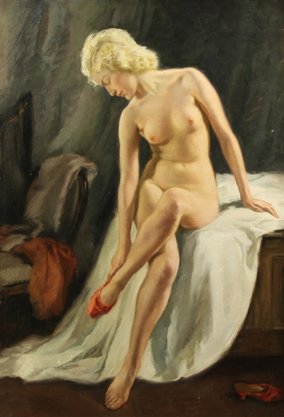 Nude With Red Shoe