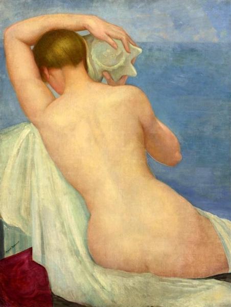 Desnudo de espalda con caracol