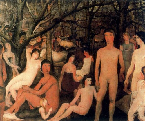 Group Of Nude Figures In A Forest