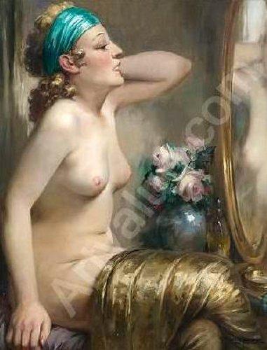 Jeune femme dénudée se mirant