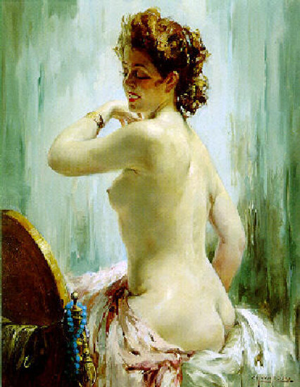 Jeune femme nue de profil