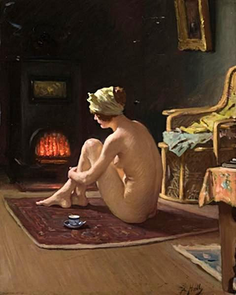 Seated Nude By The Fire