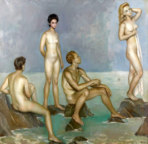 """Four Figures on the Beach"" by Jose de Togores"
