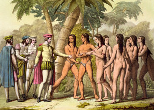 Christopher Columbus and Hernan Cortes Receiving A Native American Girl As A Gift
