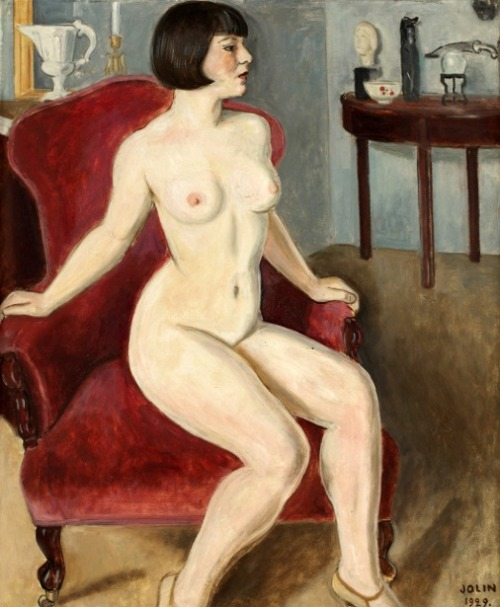 Model In Red Armchair
