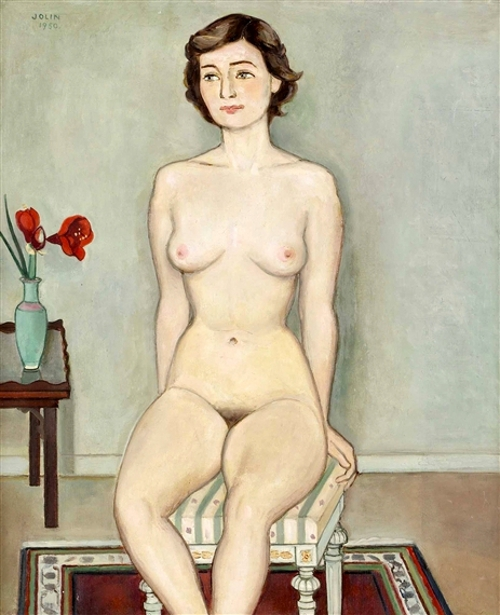 Nude Model With Amaryllis