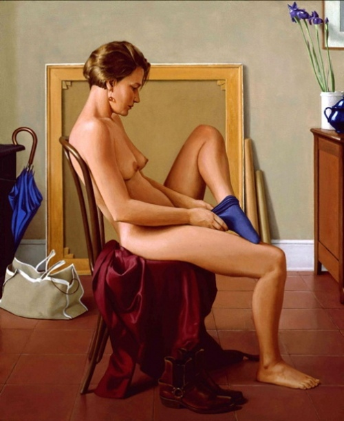 Nude With Blue Sock