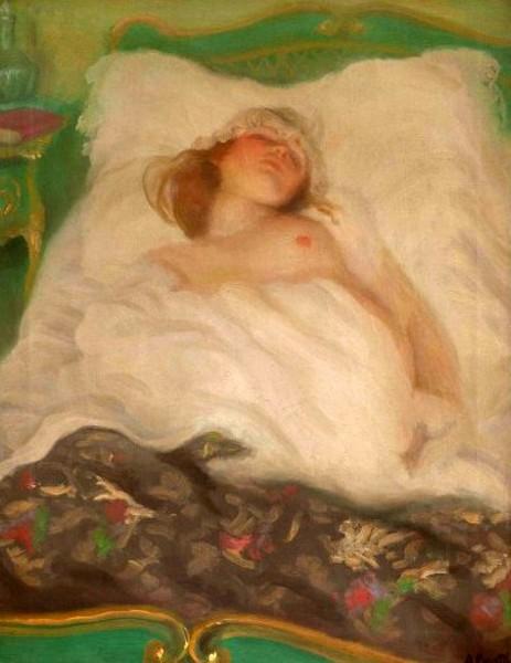 Nudo nel letto verde