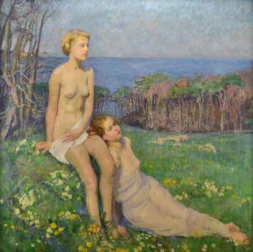 Two Women Resting In A Meadow