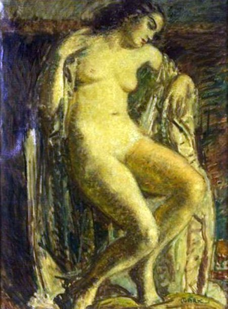 Female Nude Seated On A Draped Armchair