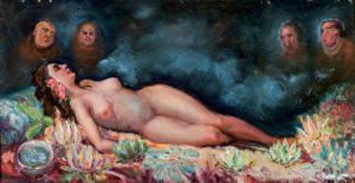 Maja desnuda observada por cuatro personajes