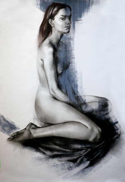 Nude Seated On Fabric
