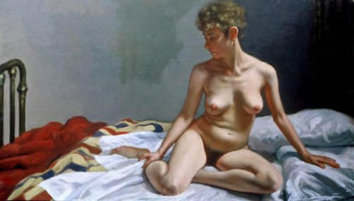 Nude With Striped Blanket