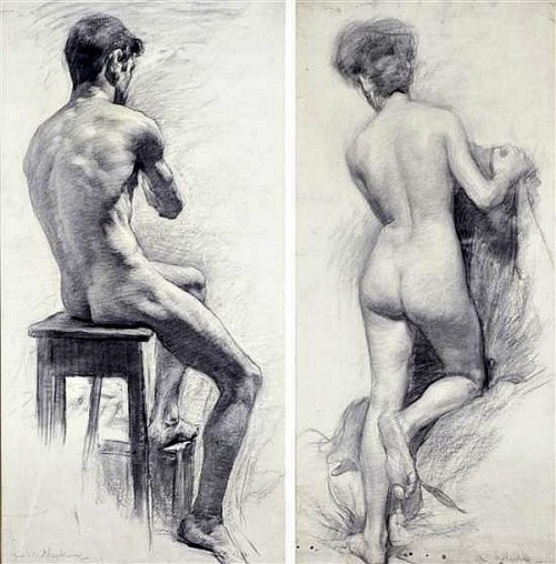 Seated Male and Standing Female