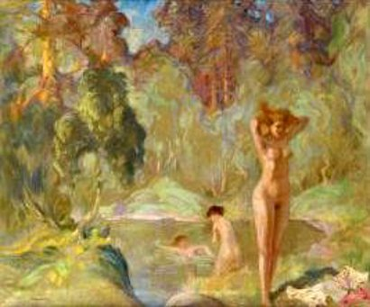 Girls Bathing In A Forest Pond