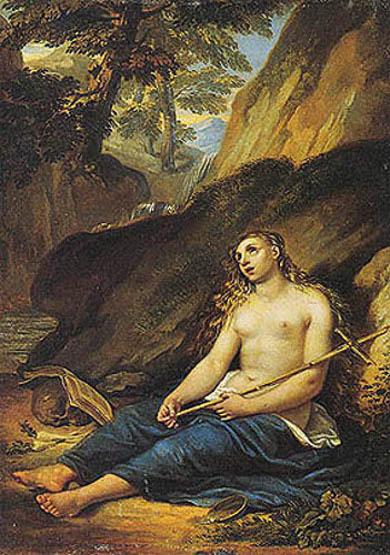 La Maddalena penitente in un paesaggio roccioso