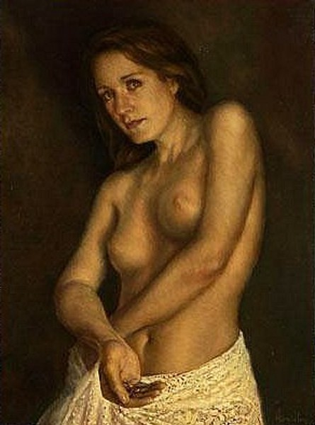 Nude Holding A Ring With String Attached