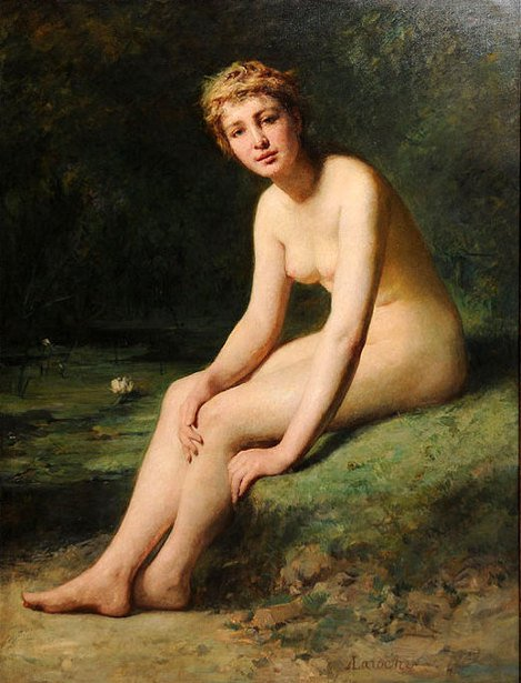 Nude In A Landscape - Female Nude By Pond With Water Lilies