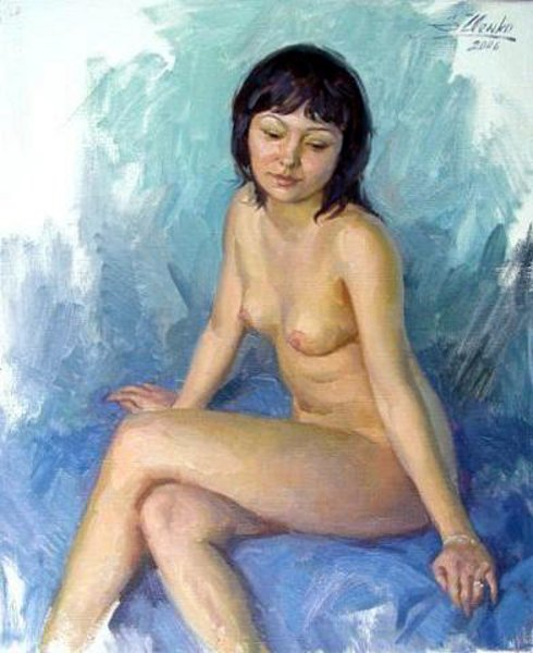 Nude With Blue Background