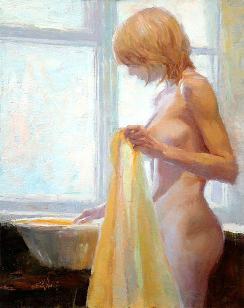 Bather With Yellow Towel 20x16 oil on linen