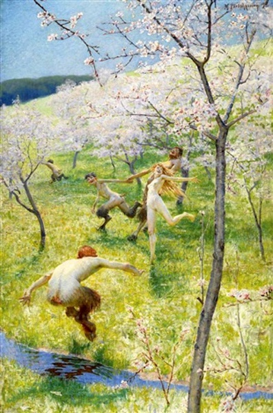 Dance Of Satyrs And Nymph In A Spring Landscape