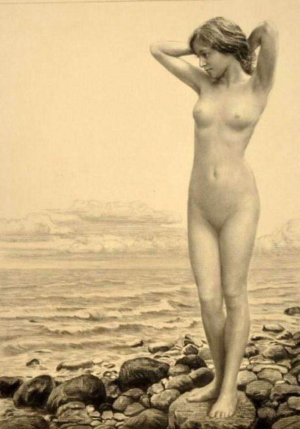 Female Nude At The Sea