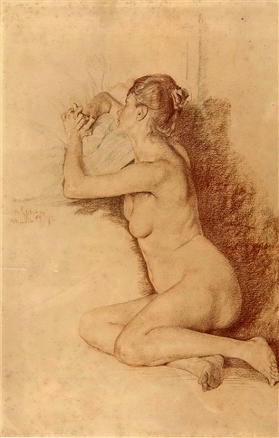 Female Nude With Folded Hands