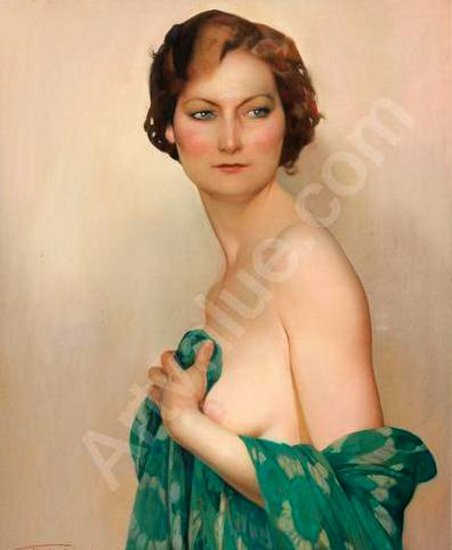 Female Nude With Green Dress