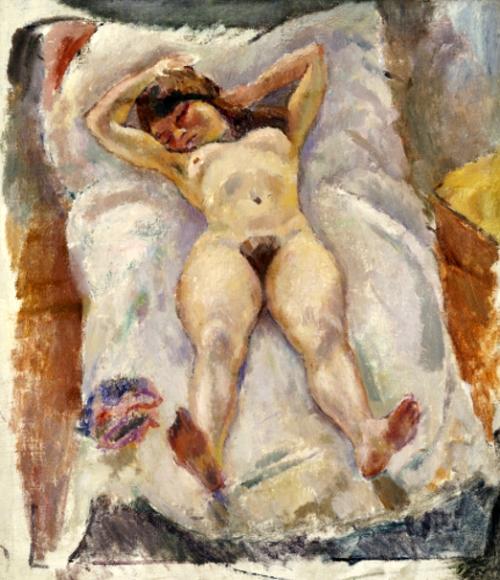 Lounging Nude. Nu Allonge.  Jules Pascin (1885-1930). Oil On Canvas.