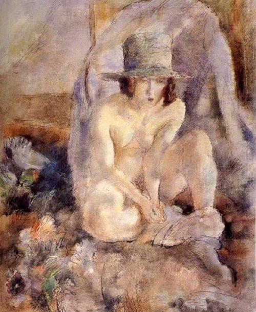 Nude Female Wearing Green Hat