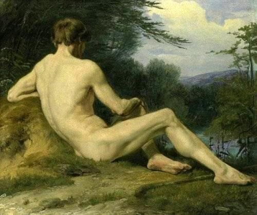Reclining Male Nude By The Water