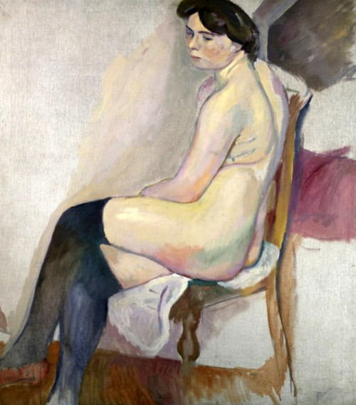 Seated Nude In Blue Stockings