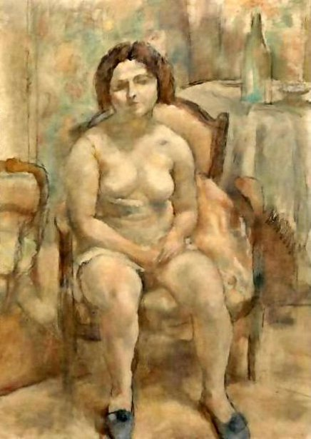 Seated Nude With Slippers