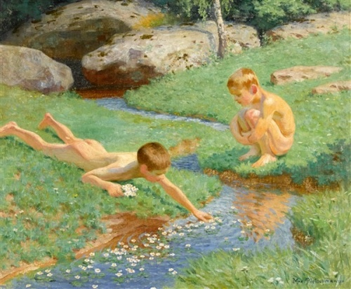 Summer Day With Two Boys At The Creek