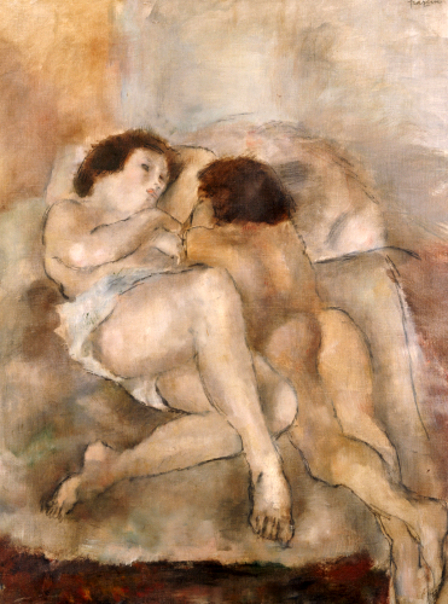 Two Nudes. Deux Nus. Jules Pascin (1885-1930). Oil On Canvas, 1925.