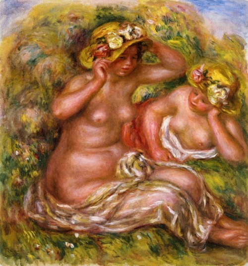 Two Women With Flowered Hats